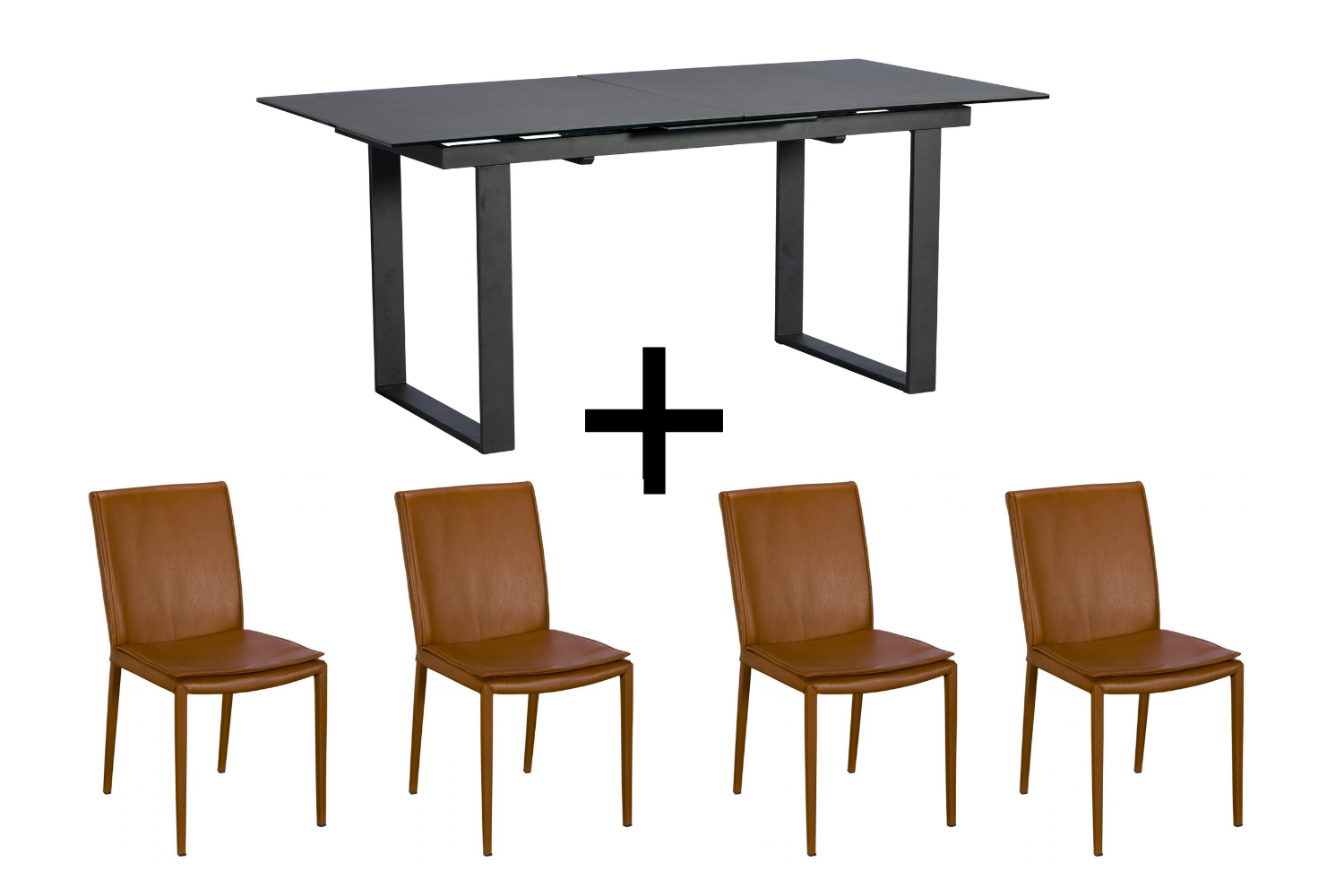 Monterrey Dark Grey Extending Dining Table and 4 Tan Ralph Chairs - Bundle Deal