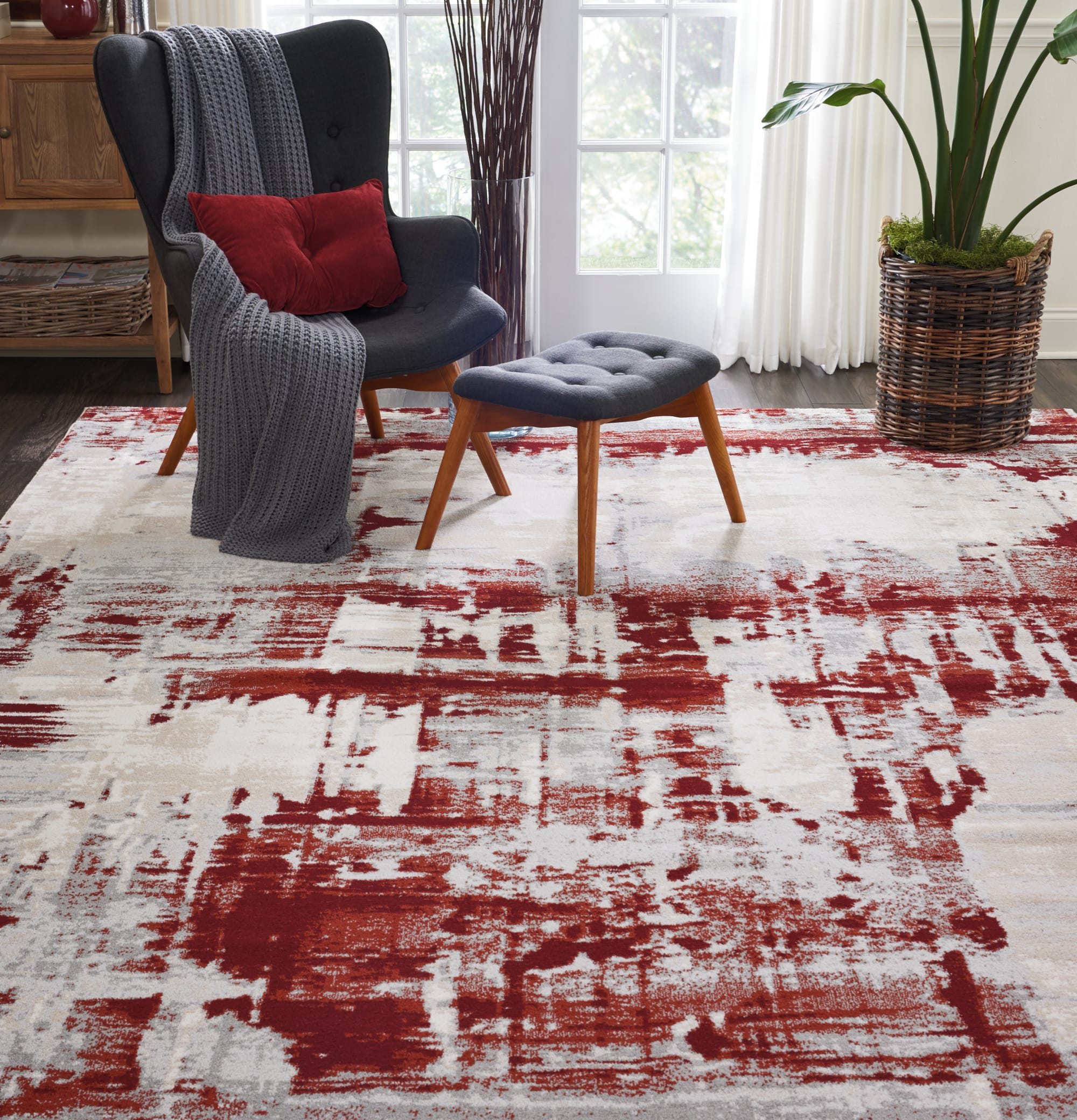 Maxell Rug MAE14 Ivory Red