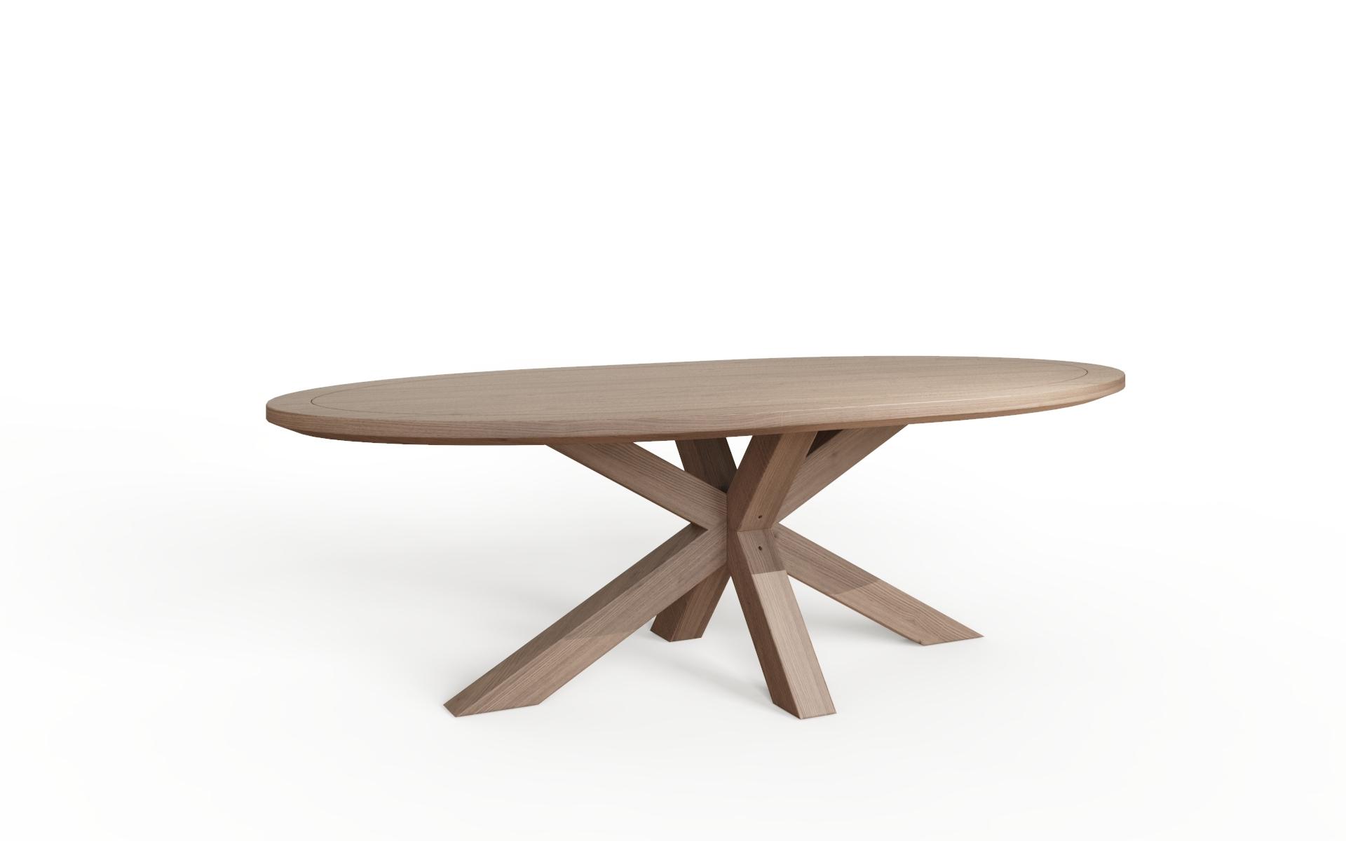 Hugo Double X Pedestal Oval Dining Table