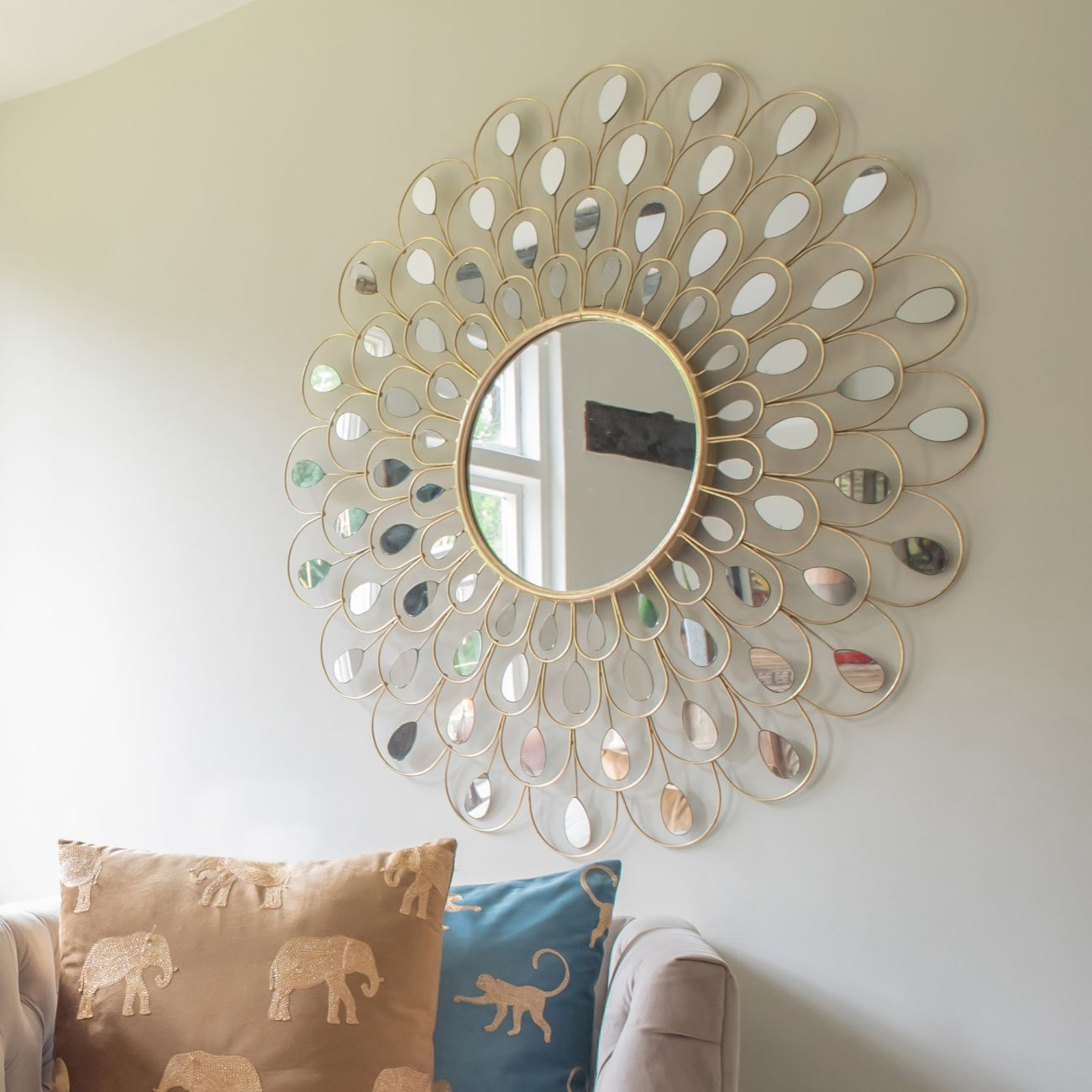 Decorative Peacock Feather Round Mirror