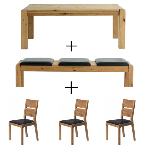 Sicily Table, 3 Seat Bench and 3 Chairs Dark Grey - Dining Bundle