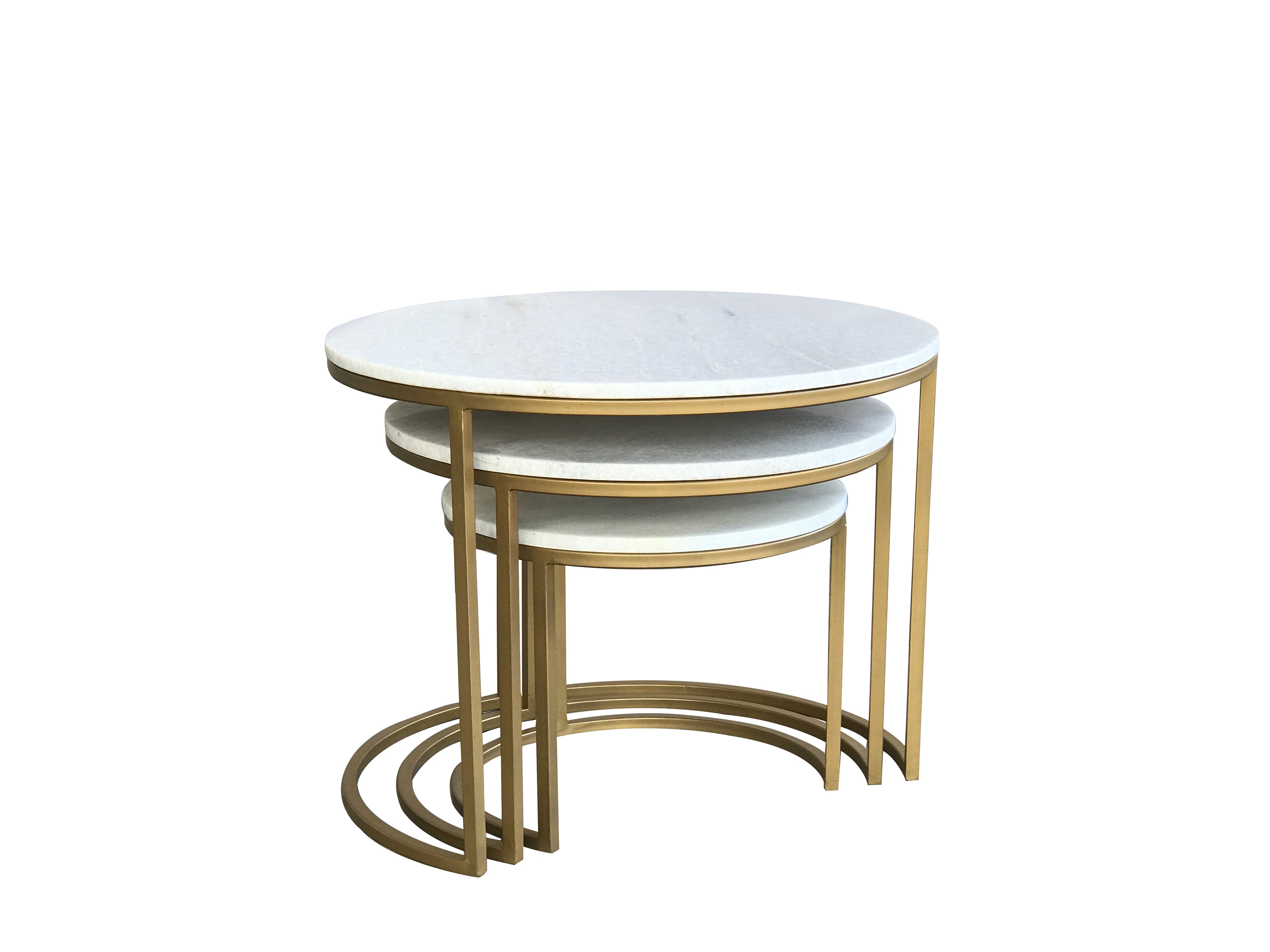 Beth Brass and Marble Nest of Tables