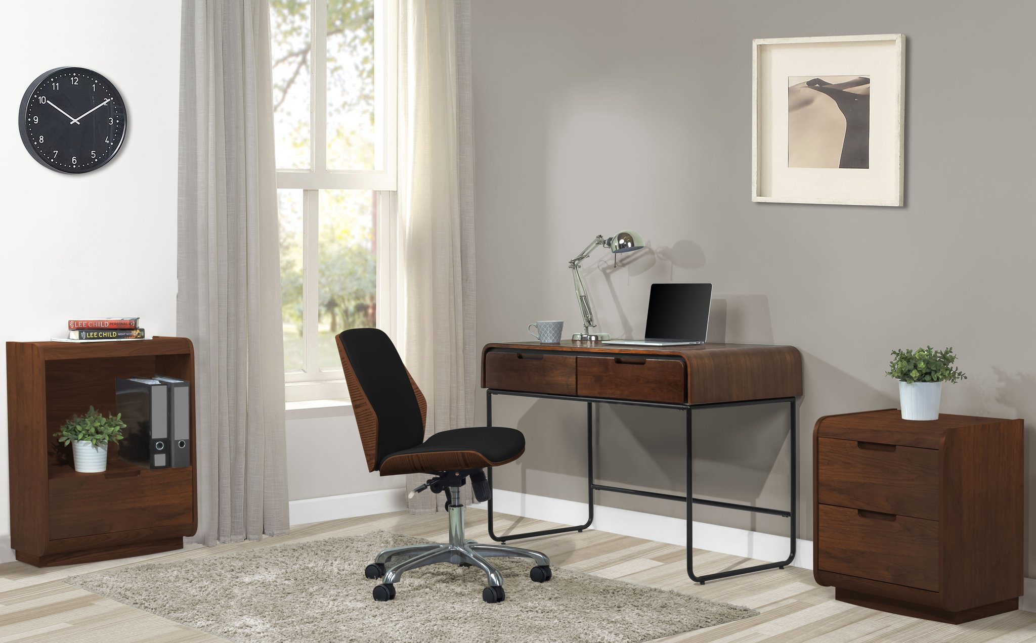 Harvard 2 Drawer Walnut Desk