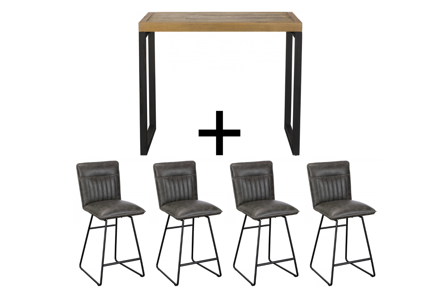 Ford Bar Table & 4 Grey Cooper Bar stools - Bundle Deal