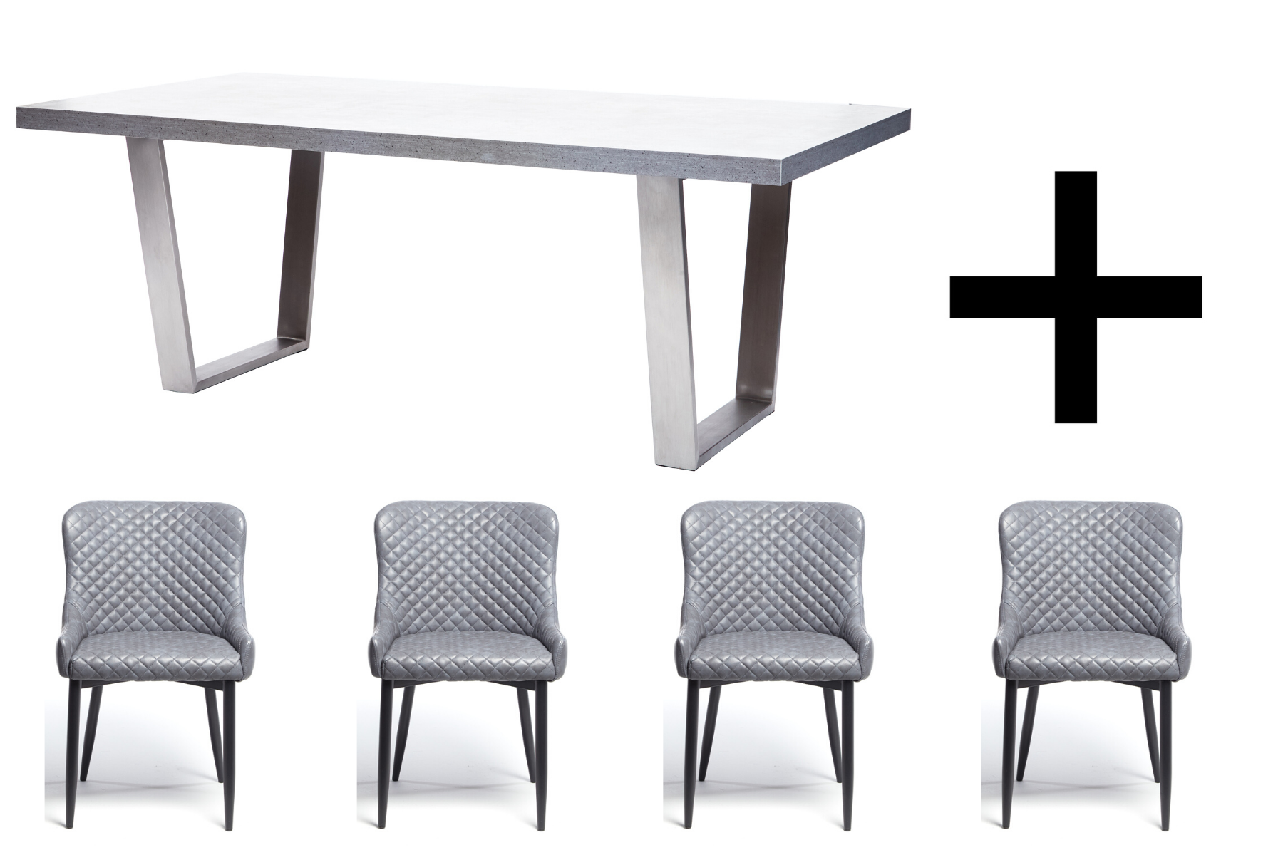 Hornby 200cm Dining Table and 4 Vintage Grey Maxwell Dining Chairs - Bundle Deal