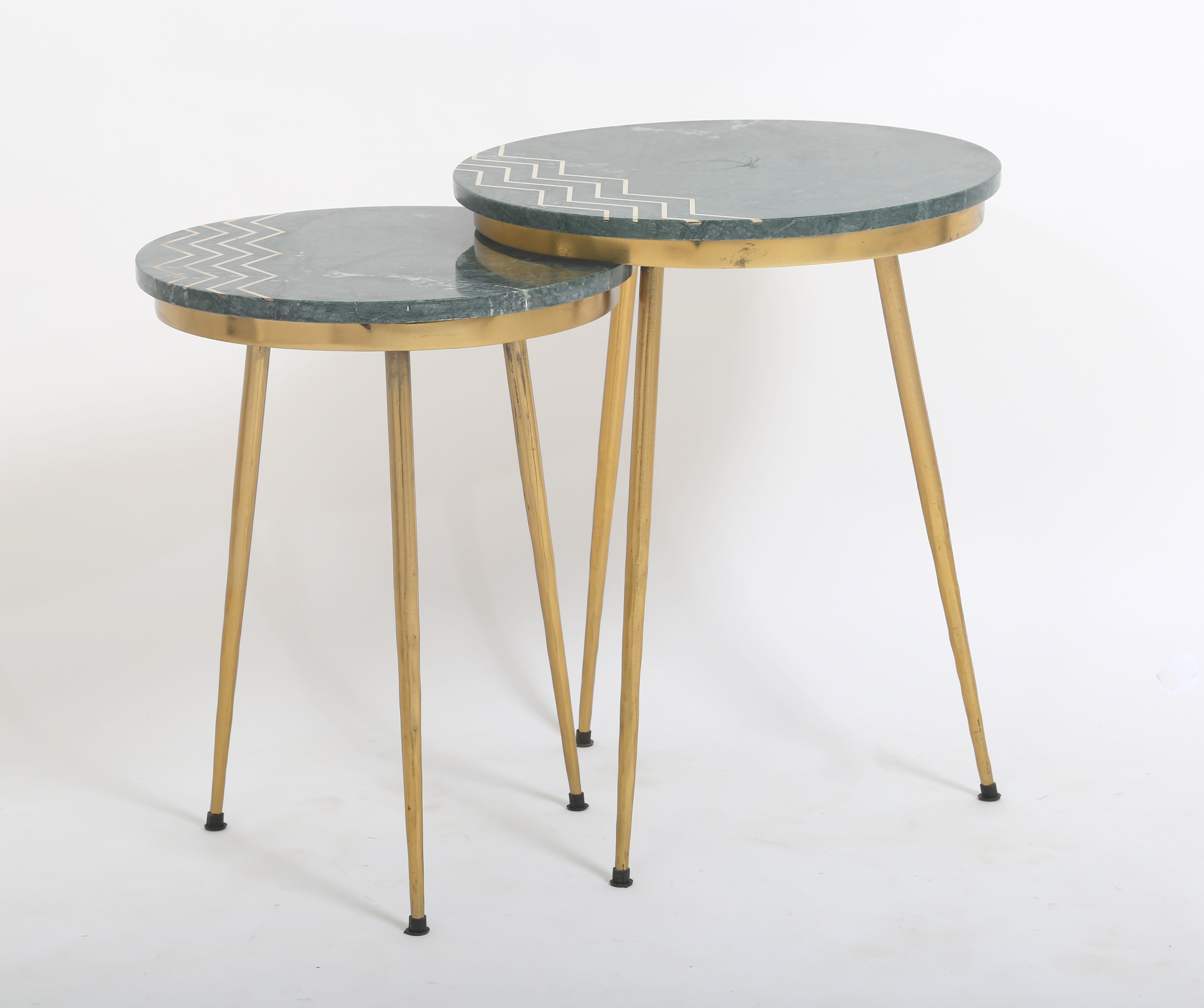 India Marble Kantha Lamp Tables (Pair)