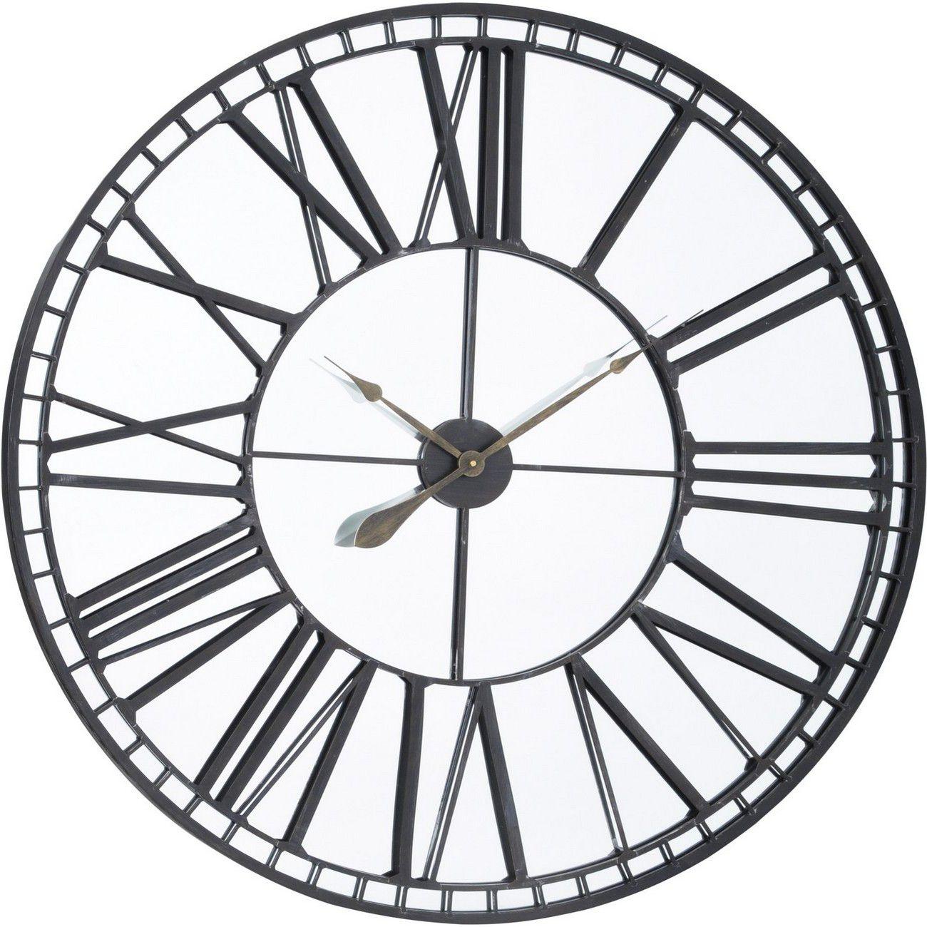 Oversized Skeleton Mirror Wall Clock