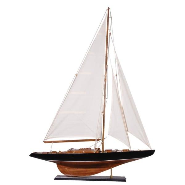Wooden Yacht Figurine (White Sails)