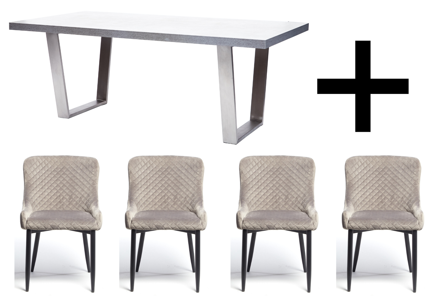 Hornby 200cm Dining Table and 4 Grey Velvet Maxwell Dining Chairs - Bundle Deal