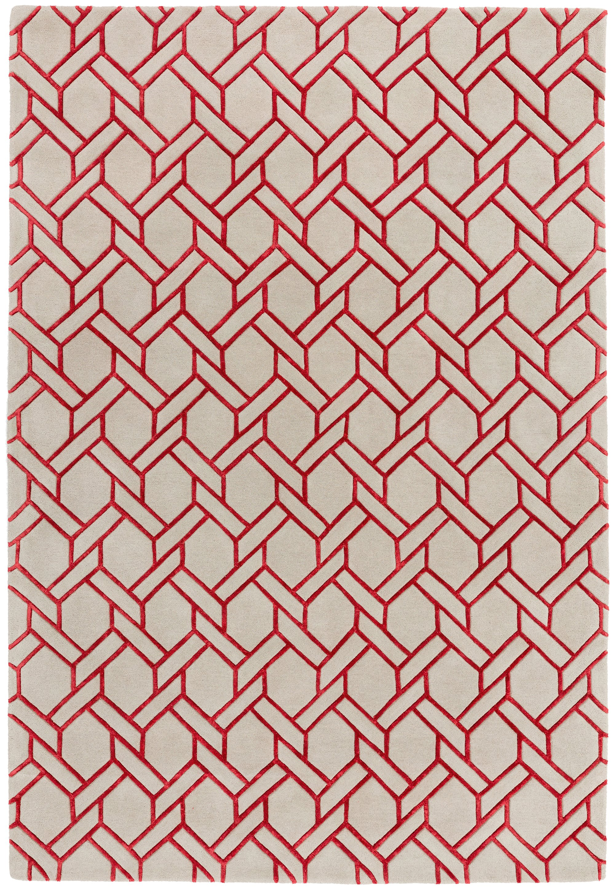 Nexus Rug Fine Lines Silver/Red