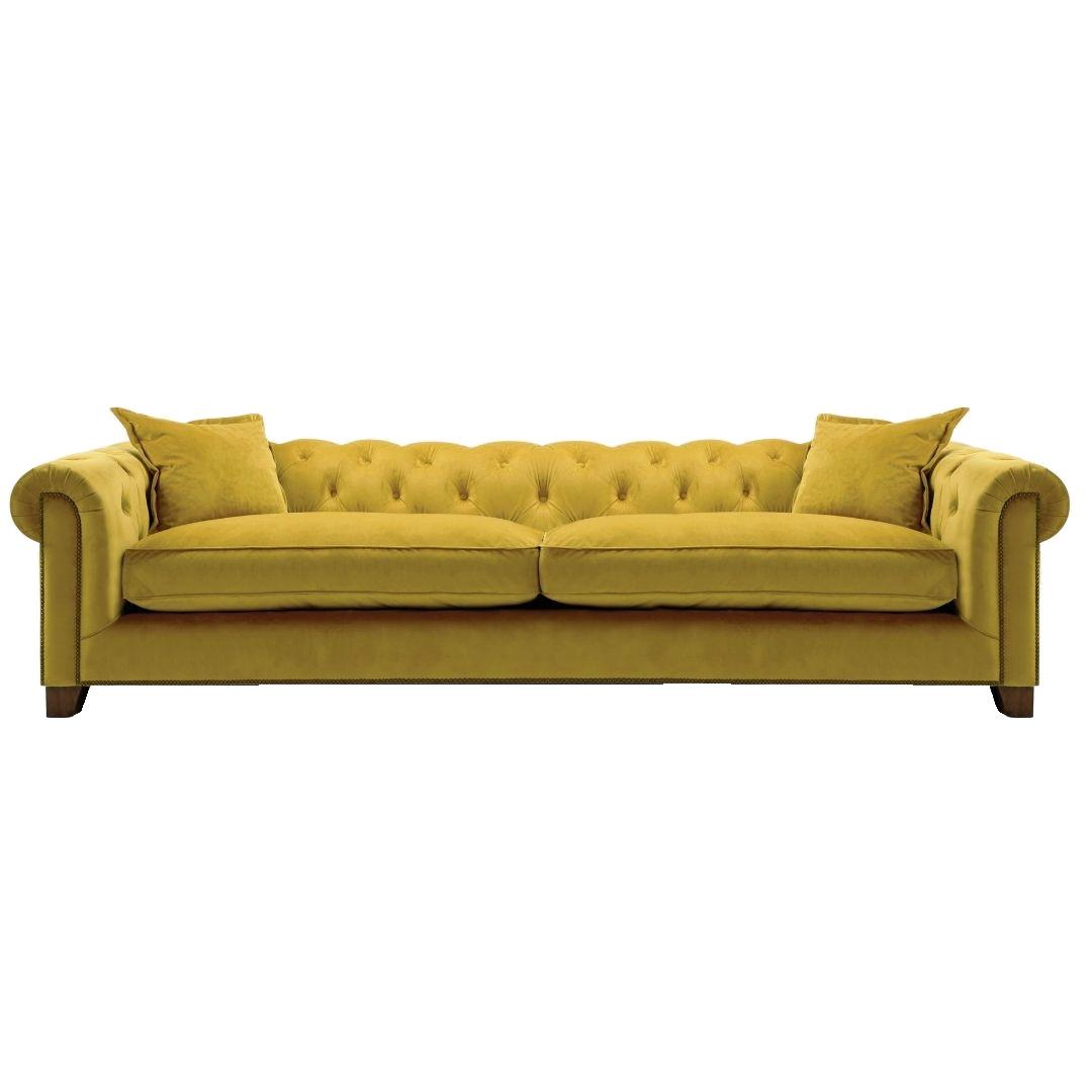 Kennedy 4 Seater Hermit Sofa - Mustard