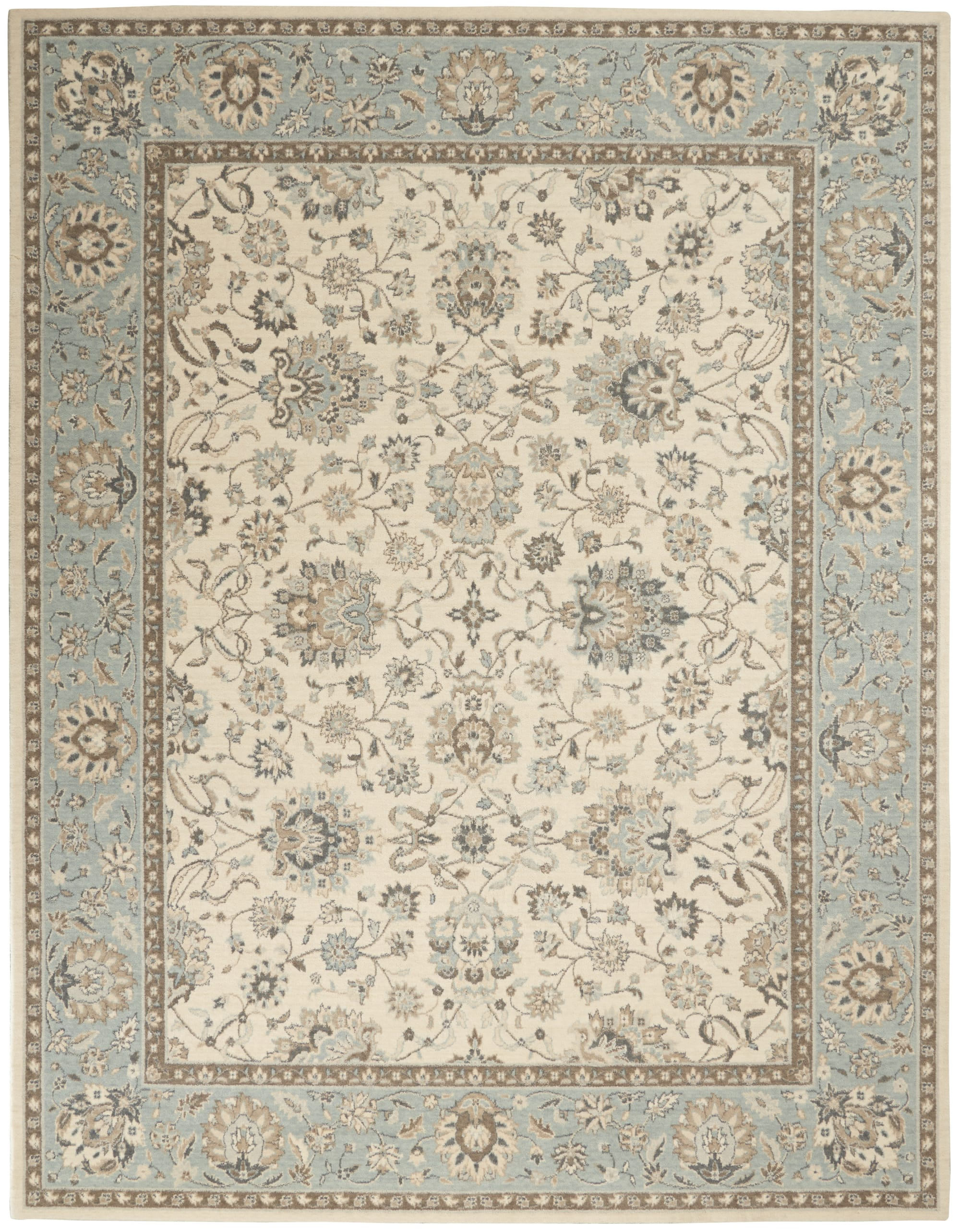 Living Treasures Rug LI16 Ivory/Aqua