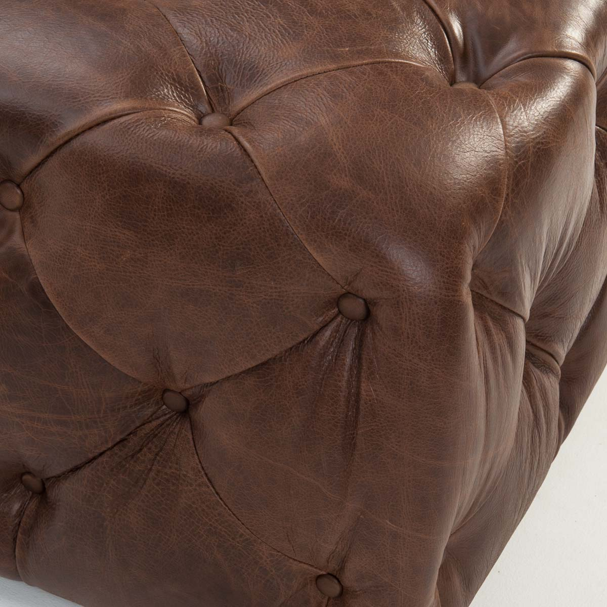 Small Button Footstool Leather