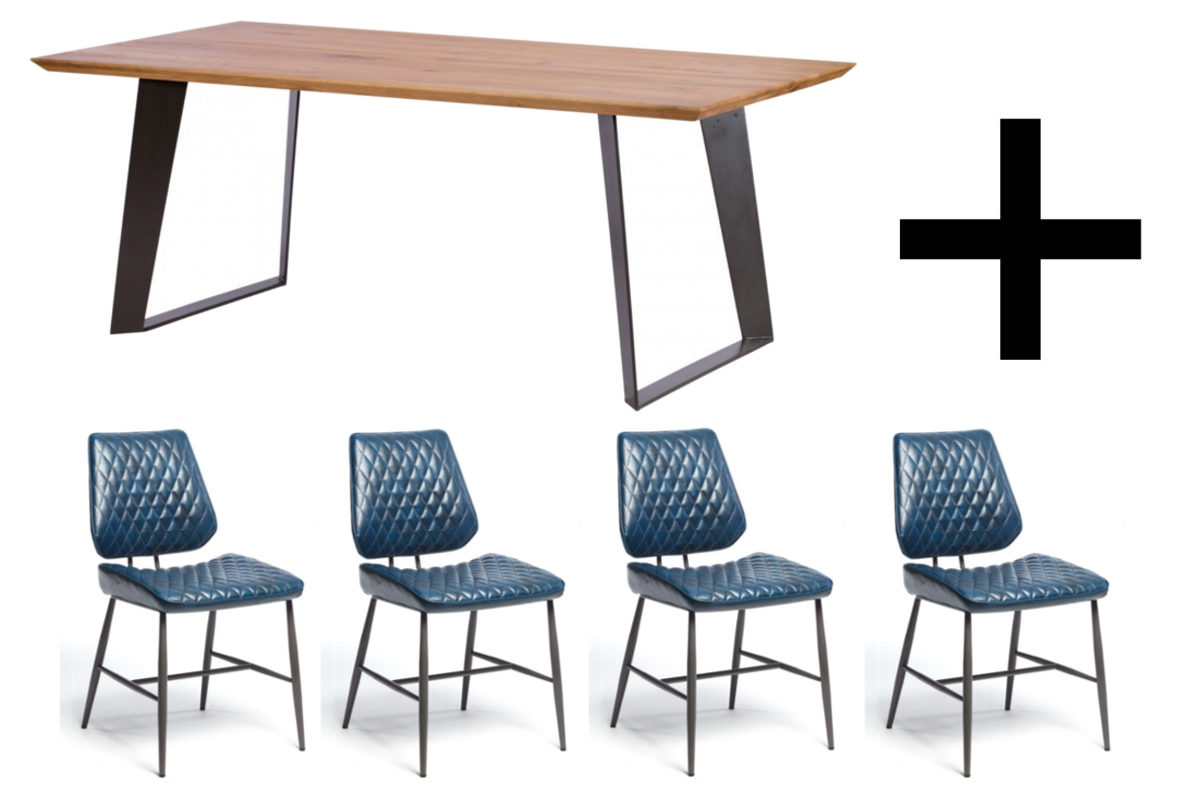 Smithfield 220cm Dining Table and 4 Blue Dalton Chairs - Bundle Deal