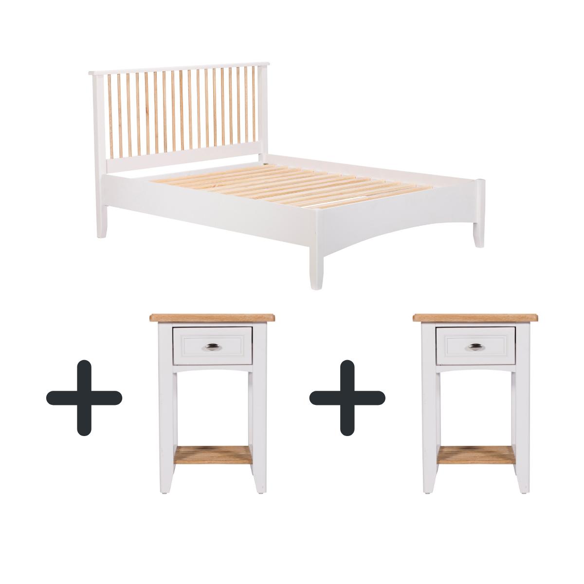 Portland Bedframe and Two Bedside Lockers - Bundle Deal