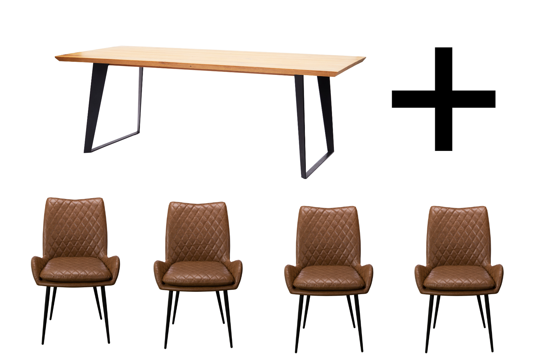 Hatton 180cm Dining Table and 4 Brown Dining Chairs - Bundle Deal