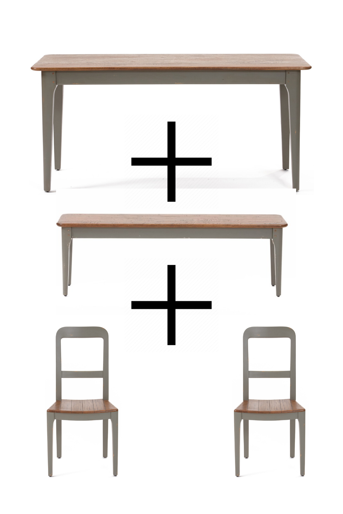 Portchester Dining Table & Bench and Two Dining Chairs - Bundle Deal