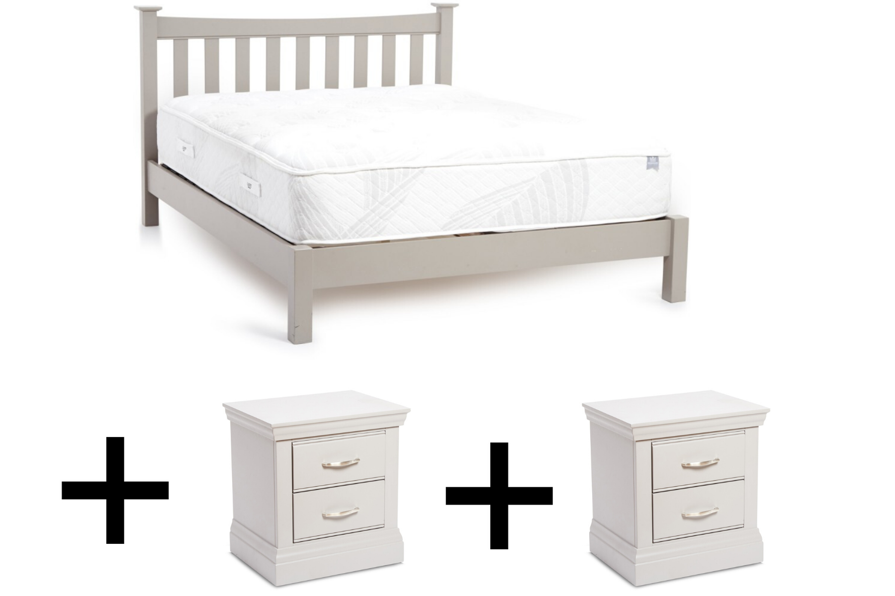 Shropshire Bedframe and Two Bedside Lockers