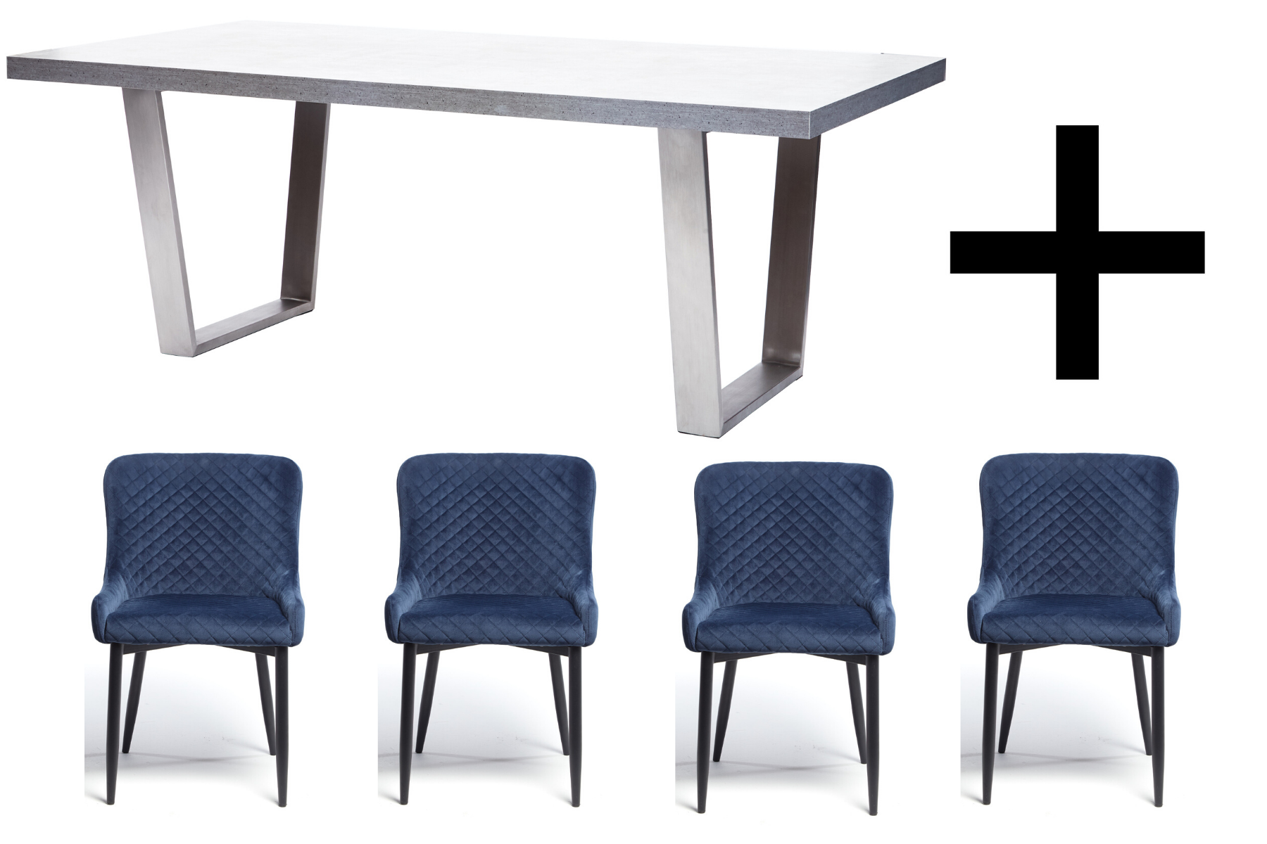 Hornby 200cm Dining Table and 4 Blue Velvet Maxwell Dining Chairs - Bundle Deal