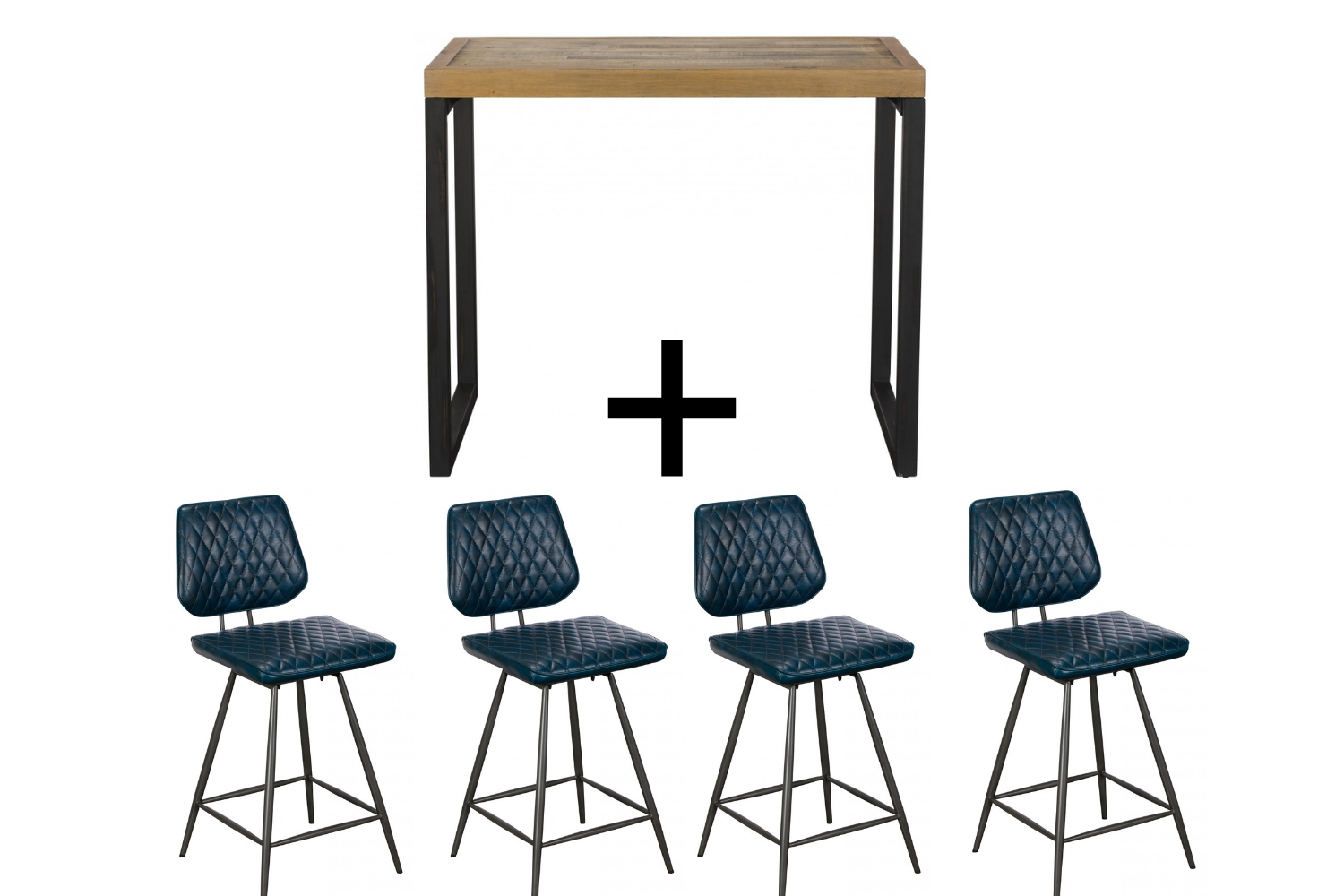 Ford Bar Table & 4 Blue Dalton Bar stools - Bundle Deal