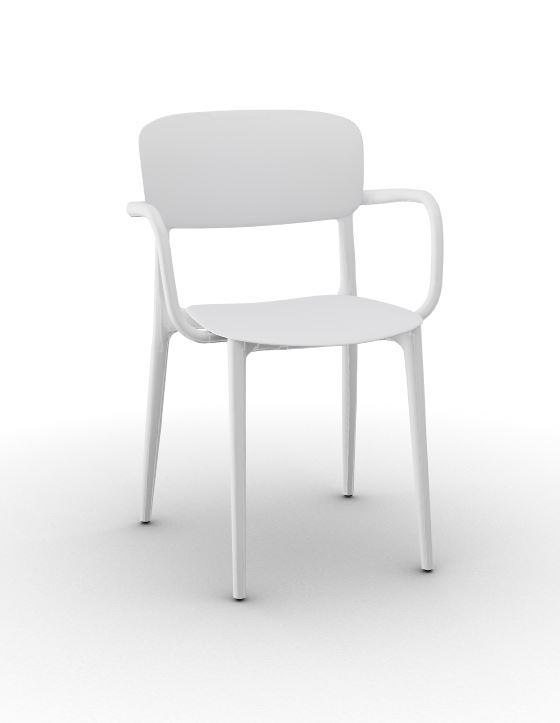 Calligaris Liberty Arm Chair - Matt Optic White
