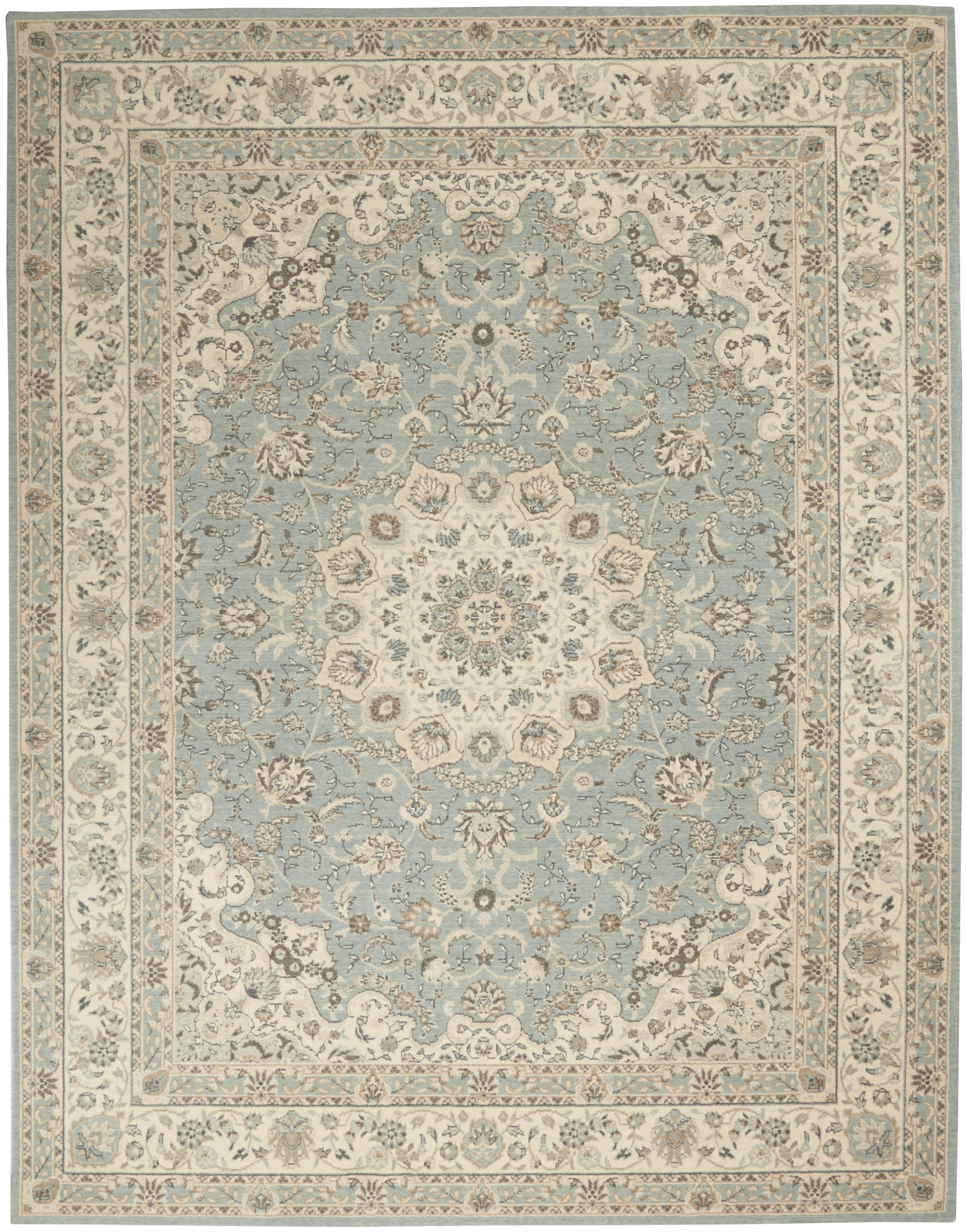 Living Treasures Rug LI15 Aqua/Ivory