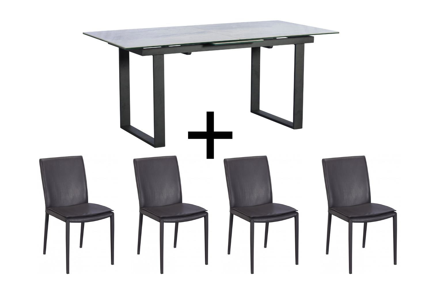 Monterrey Light Grey Extending Dining Table and 4 Grey Ralph Chairs - Bundle Deal