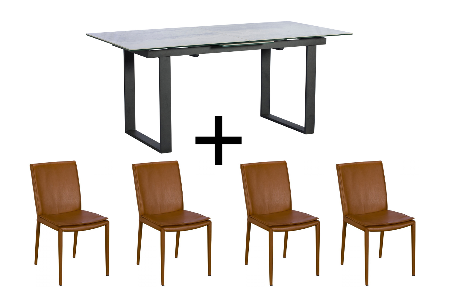 Monterrey Light Grey Extending Dining Table and 4 Tan Ralph Chairs - Bundle Deal