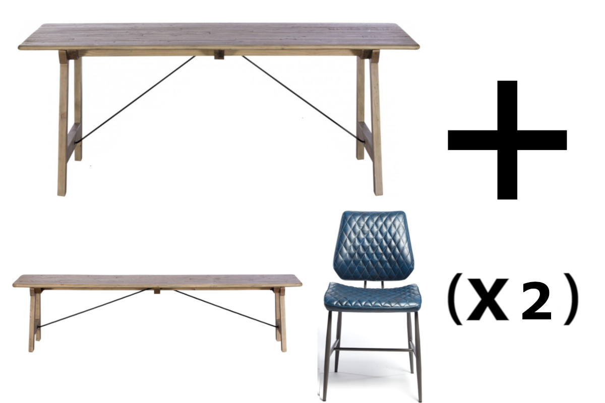 Palma Dining Table & Bench and 2 Dark Blue Dalton Dining Chairs - Bundle Deal