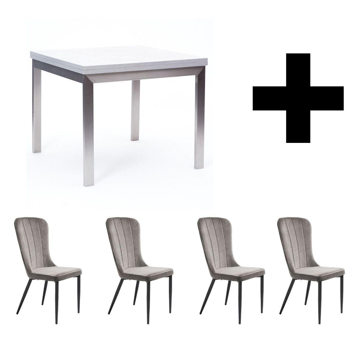 Hornby Flip Top Table and 4 Effie Grey Velvet Chairs - Bundle Deal