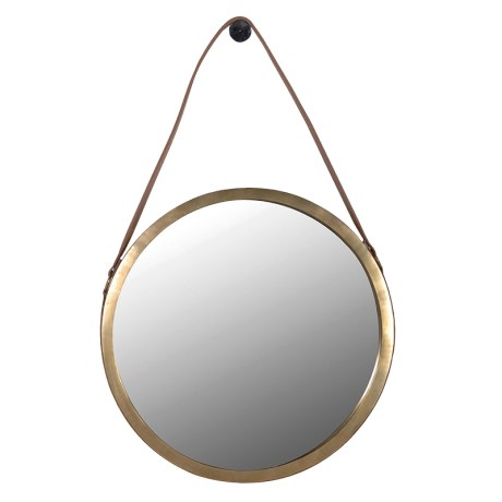 Leather Strap Gold Mirror