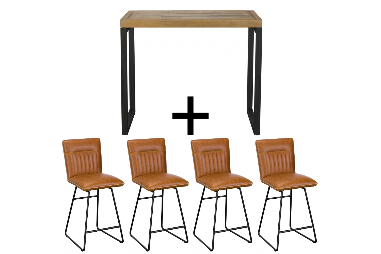 Ford Bar Table & 4 Tan Cooper Bar stools - Bundle Deal