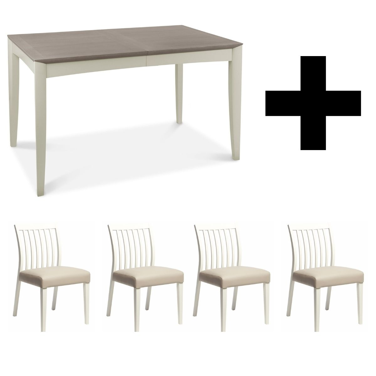 Oakley Grey 4-6 Extending Table (with 4x Low Slat Back Chairs)