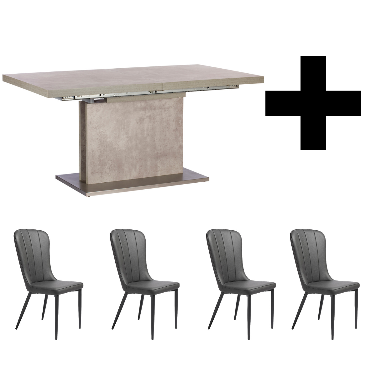 Hornby 160-220cm Extending Table and 4 Effie Vintage Grey Chairs - Bundle Deal