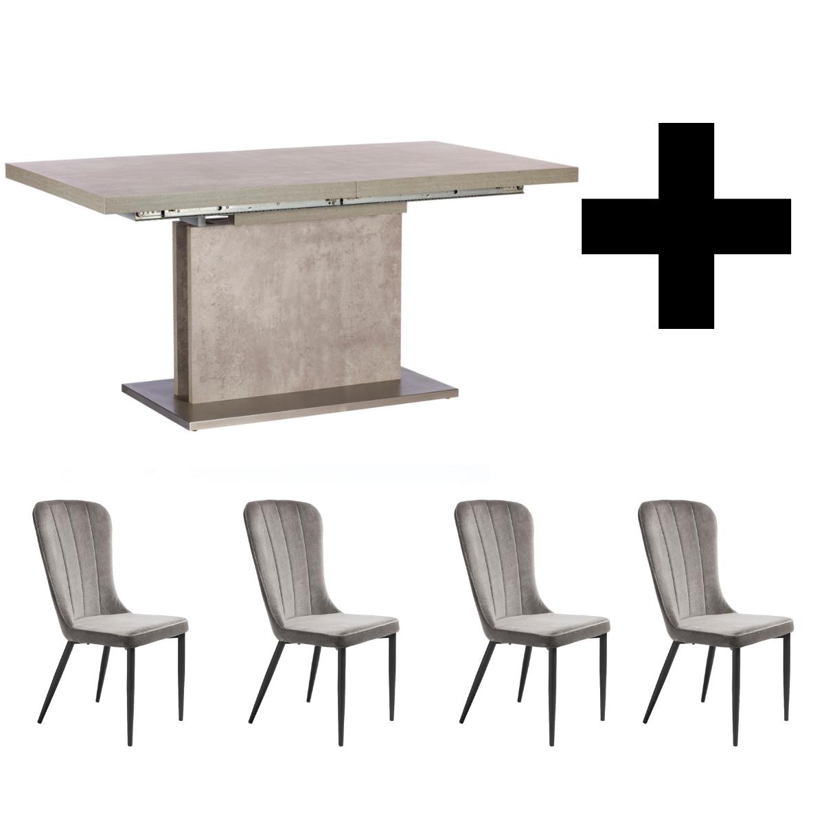Hornby 160-220cm Extending Table and 4 Effie Grey Velvet Chairs - Bundle Deal