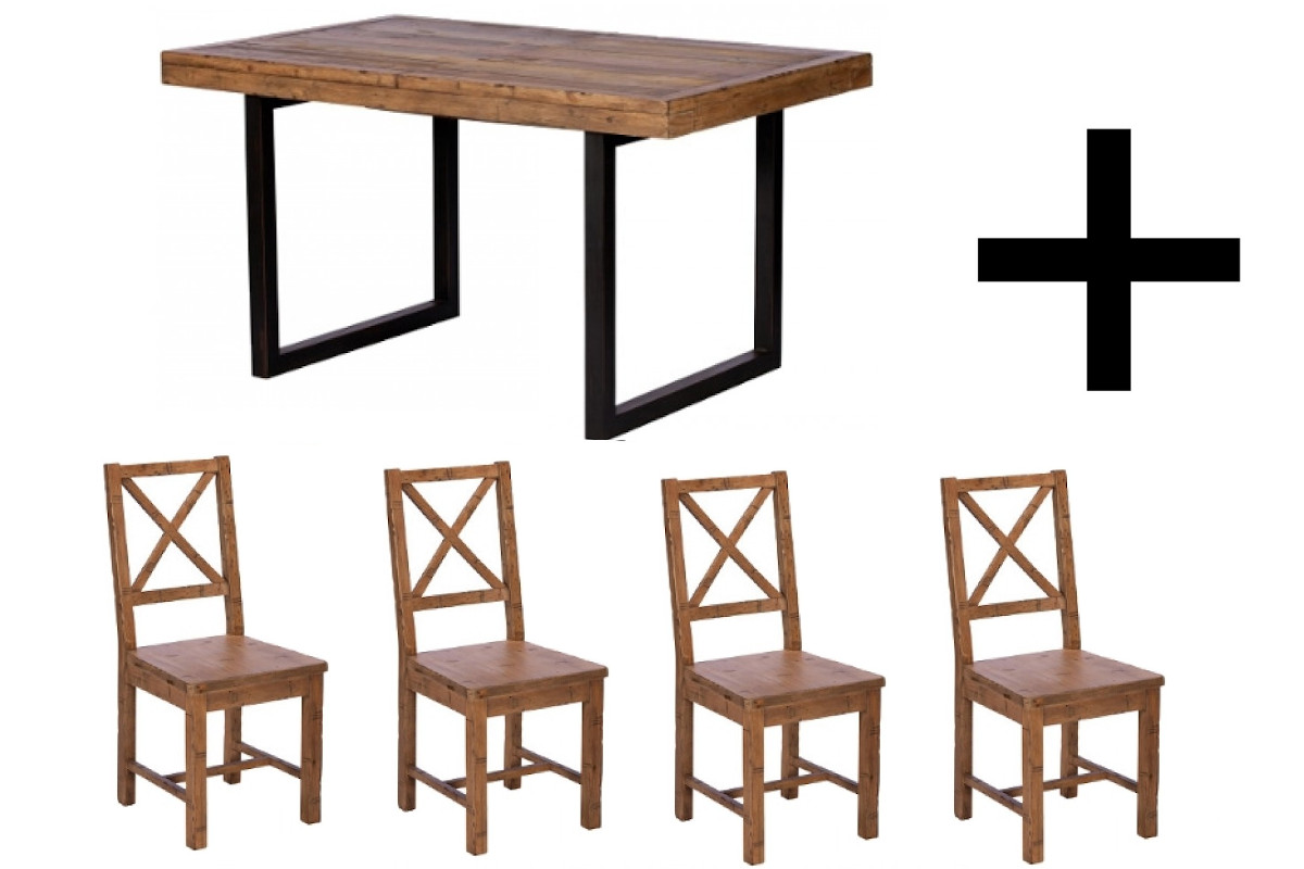 Ford 140cm Extending Dining Table and 4 Chairs - Bundle Deal