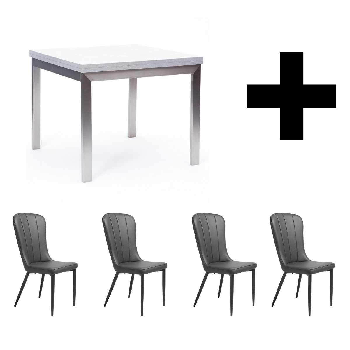 Hornby Flip Top Table and 4 Effie Vintage Grey Chairs - Bundle Deal