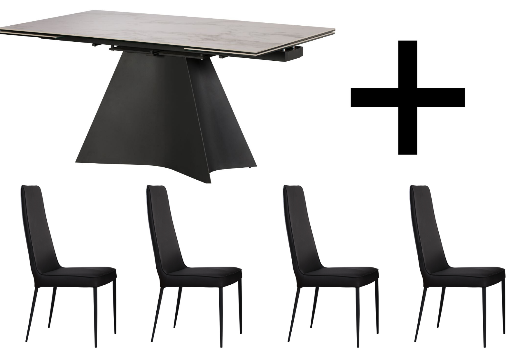 Mateo Extending Dining Table & 4 Grey Dining Chairs - Bundle Deal