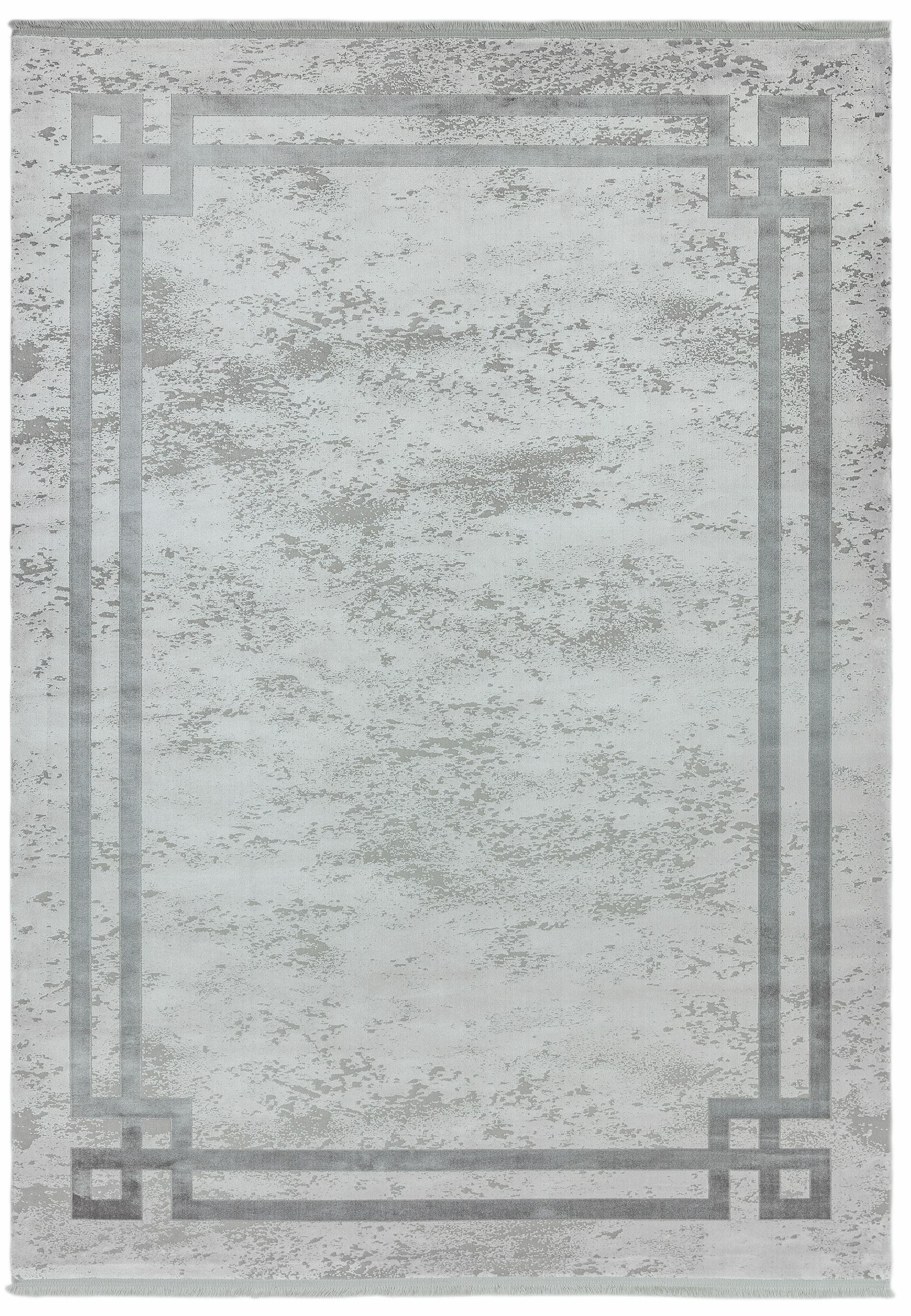 Olympia Rug OL03 Silver Grey Border