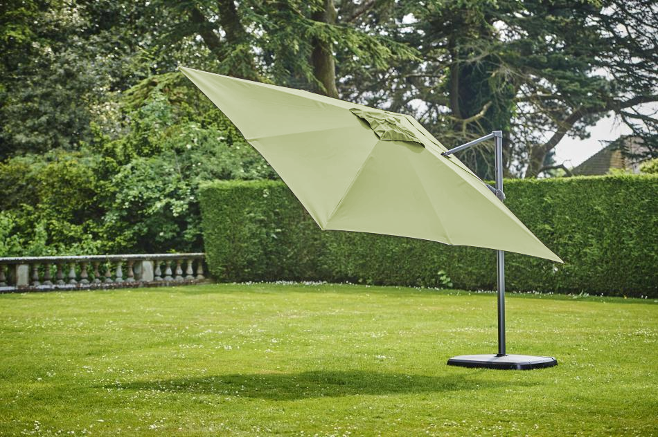 Provence Old Green Del Sq Parasol w/base