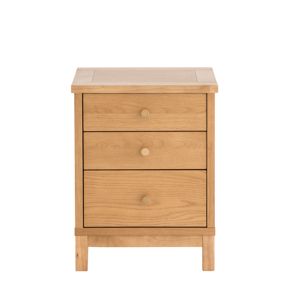 Conall Oak 3 Drawer Bedside Chest