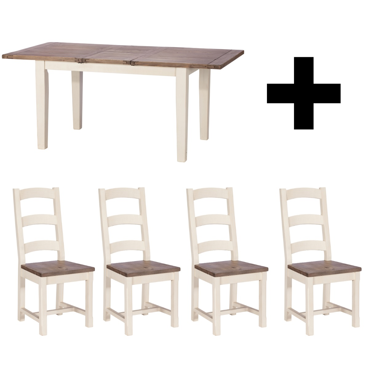 Maine Small Extending Dining Table and 4 Wooden Dining Chairs