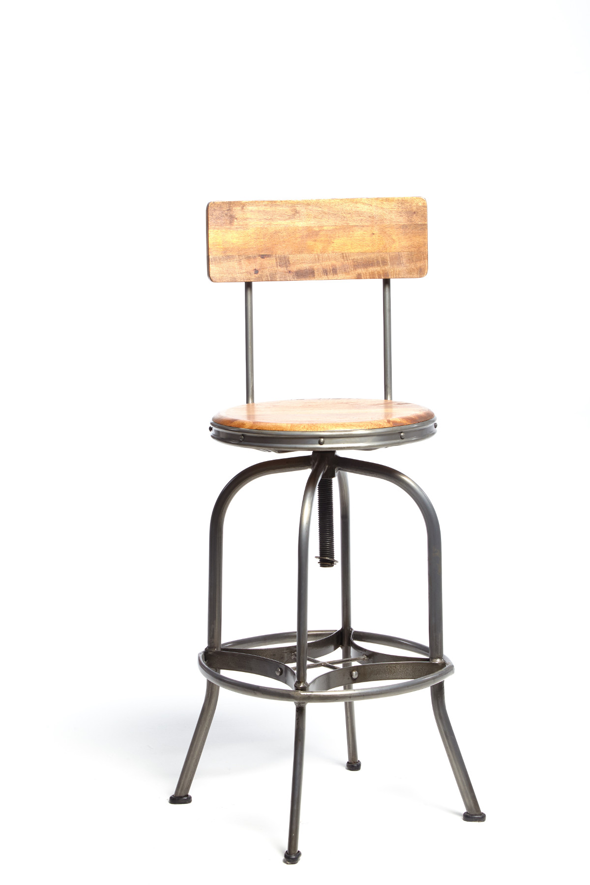 Reclaimed Bar Stool with Back Rest