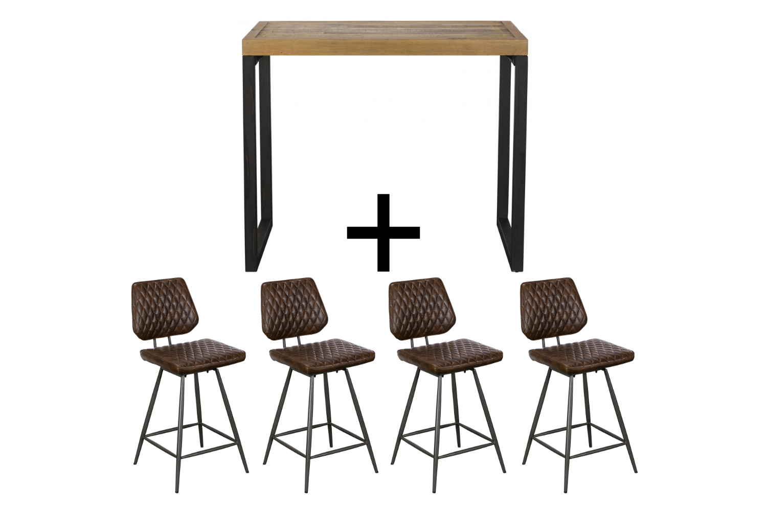 Ford Bar Table & 4 Brown Dalton Bar stools - Bundle Deal