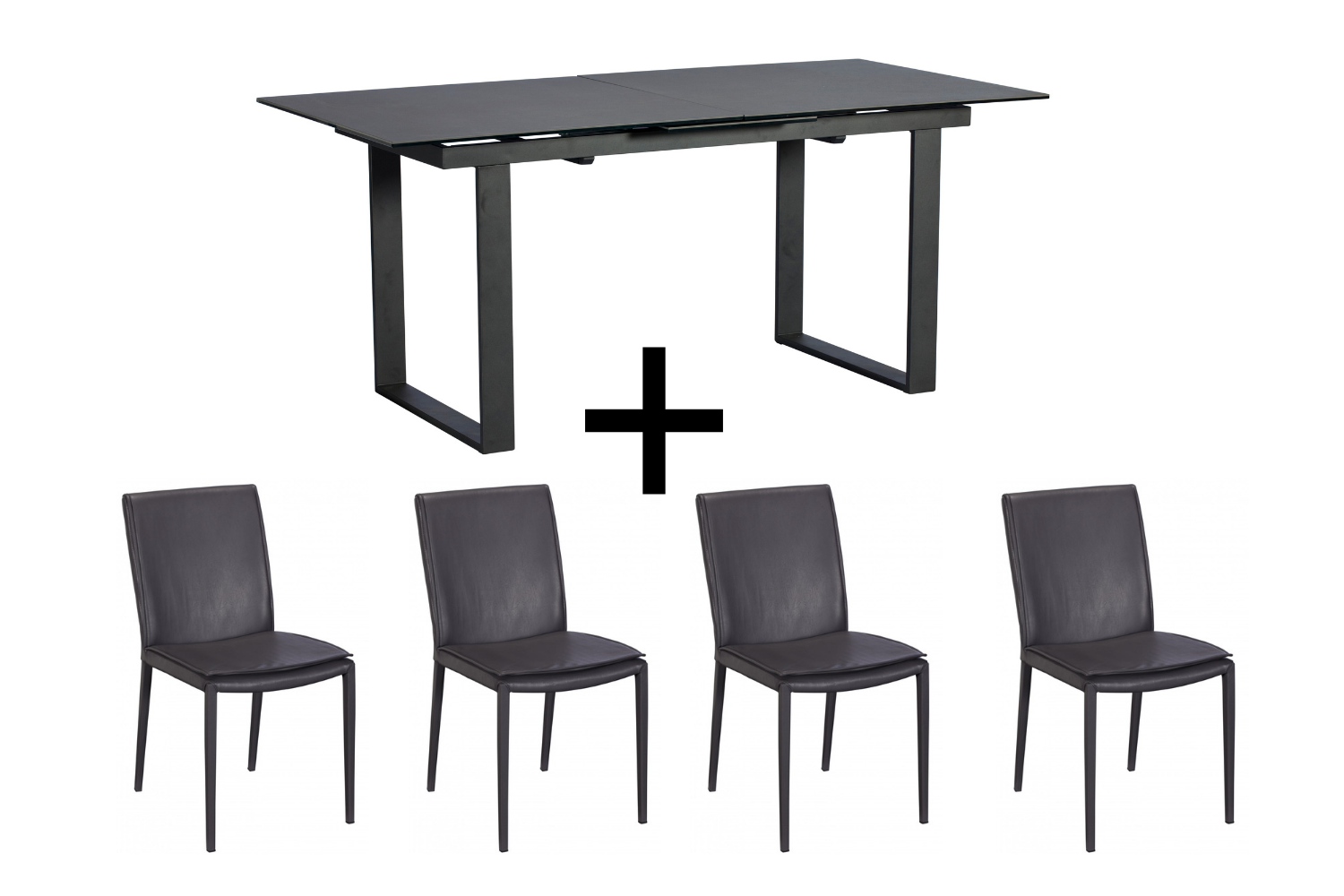 Monterrey Dark Grey Extending Dining Table and 4 Grey Ralph Chairs - Bundle Deal