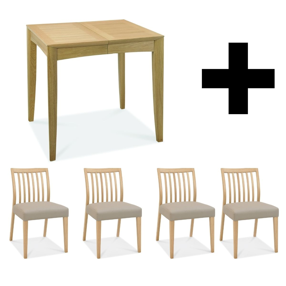 Oakley 2-4 Extending Table (with 4x Low Slat Back Chairs)