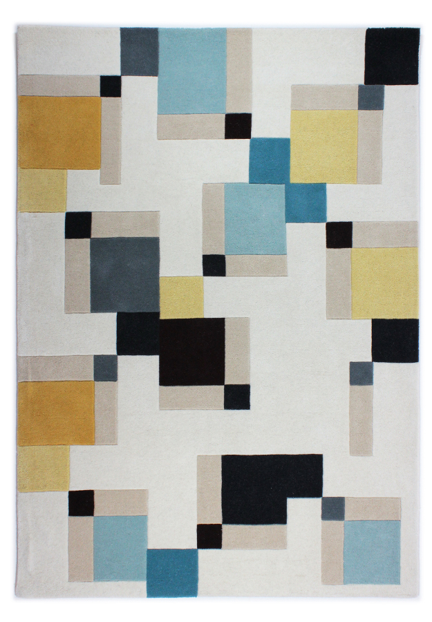 Illusion Abstract Blocks Rug Blue/Ochre