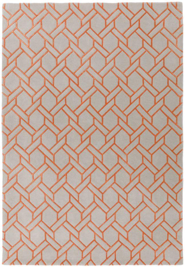 Nexus Rug Fine Lines Silver/Orange