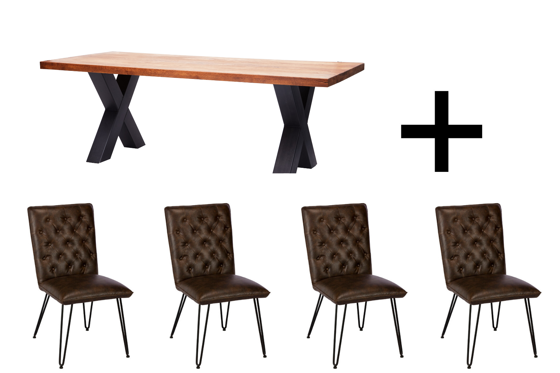 Heathfield 220cm Dining Table and 4 Lewis Dining Chairs - Bundle Deal