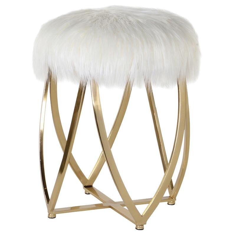 Faux Fur Gold Stool
